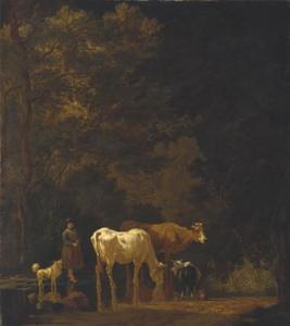 Herderin met koeien en een geit in een doorwaadbare plaats in een beek