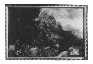 Berglandschap met de prediking van Johannes de Doper
