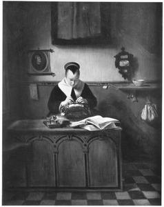 Interieur met kantklossende vrouw