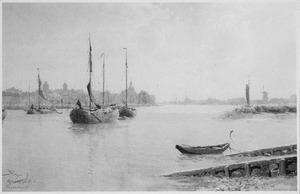 Schepen op de Oude Maas bij Dordrecht
