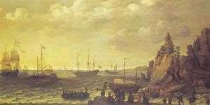 Aankomst van koopvaardijschepen en een galei voor een bergachtige kust