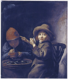 Twee rokende en mossels etende jongentjes