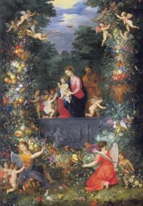 De Heilige Familie met engelen, omkranst met een bloemguirlande in een boslandschap