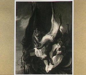 Opgehangen haas, mandfles en sierpul