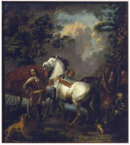 Soldaat houdt zijn paard aan de teugel voor een herberg