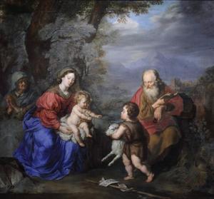 Heilige familie met de heilige Johannes en de heilige Anna