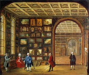De schilderijenverzameling van Johann Noë Gogel I (1715-1781) met links de schilder Johann Daniel Bager (1734-1815)