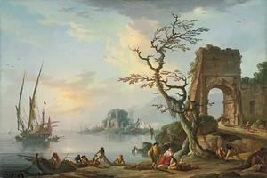 Kustgezicht met vissers die een boot uitladen, met Romeinse ruïnes