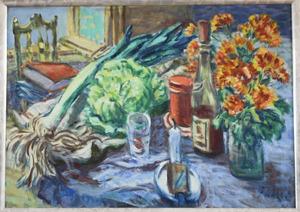Stilleven met prei, sla, wijn en bloemen