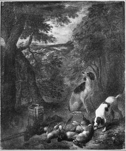 Honden bij jachtbuit in het bos