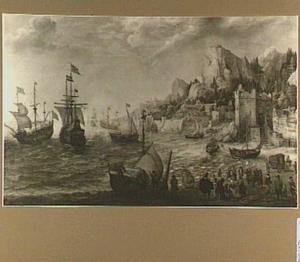 Rotsachtig kustgezicht met schepen en figuren