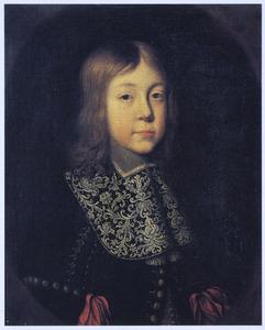 Portret van een jongen in een geschilderd ovaal