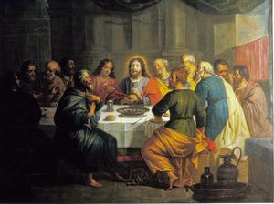 Het Laatste Avondmaal: Christus zegent het brood, de instelling van de Eucharistie