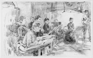 Kunstenaars aan het werk in een interieur