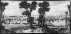 Gezicht op de abdij en het kasteel van Egmond