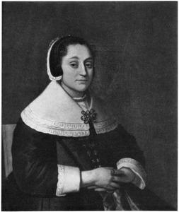 Portret van een vrouw met witte kraag en vleugelmuts