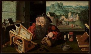 De H. Hieronymus in zijn studeervertrek. In de achtergrond de terugkeer van de gestolen ezel