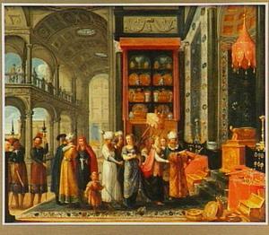 Salomo toont de koningin van Seba zijn huis en zijn schatten (1 Koningen 10:4-5)