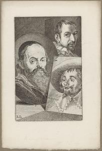 Portretten van Hendrick Goltzius (1588-1617), van een man genaamd Cornelis Cornelisz. van Haarlem (1562-1638) en van een man genaamd Hendrik Cornelisz. Vroom (....-1640)