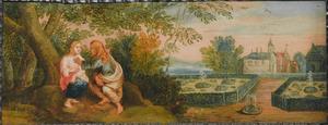 Kunstkastje beschilderd met taferelen uit de klassiek mythologie: Vertumnus en Pomona (Ovidius, Metamorphosen XIV, 622)