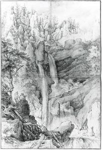 Berglandschap met waterval en tekenaar
