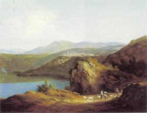 Herder en zijn kudde bij meer van Nemi