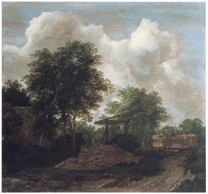 Bosachtig landschap met een huis in aanbouw bij een ophaalbrug