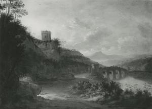 Italianiserend rivierlandschap met een stenen brug