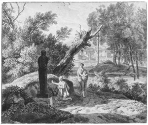 Arcadisch landschap met twee figuren bij een herm