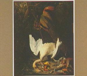 Jachtbuit met zwaan en pauw onder een boom