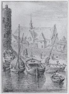 Stadsmuur van Utrecht met de kerk van het Duitse Huis