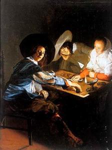 Rokend en triktrakspelend gezelschap bij kaarslicht