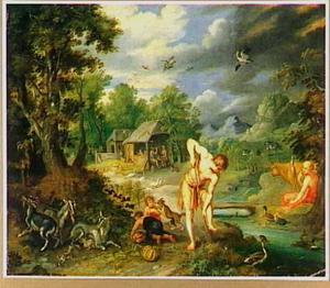 Adam en Eva met hun familie, werkend na de zondeval als landlieden (Genesis 3:23-24)