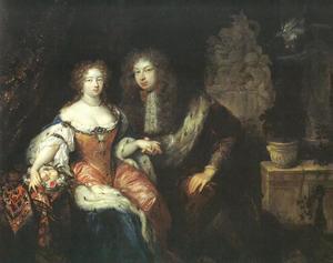 Dubbelportret van Johann Friedrich Markgraf von Brandenburg-Ansbach (1654-1686) en Eleonore Erdmuthe Luise von Sachsen-Eisenach (1662-1696)