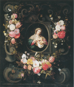 Cartouche versierd met bloemen rondom een voorstelling van Maria die het Christuskind zoogt