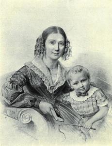 Portret van Anne Maria Christina van Zeyl (1814-1848) en Theodore Jean Pierre Beguin (1839-1869)