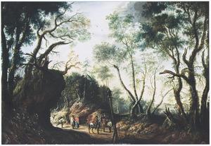 Boslandschap met reizigers