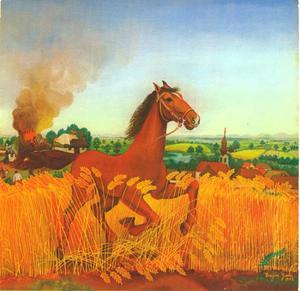 Geschrokken paard