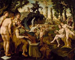 Apollo en de muzen musiceren op de berg Helicon