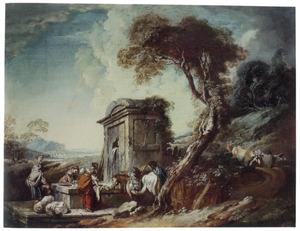 Wasvrouwen bij een fontein in een zuidelijk landschap