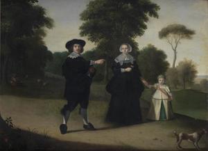 Portret van een man met zijn gezin
