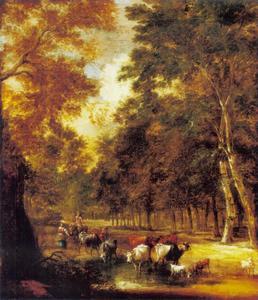 Boslandschap met herders en vee