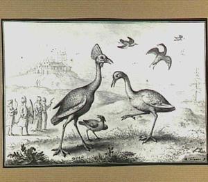 Heuvellandschap met vogels en oosters jachtgezelschap