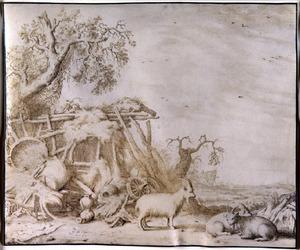 Boerenerf met rustende geiten bij een verzameling huisraad