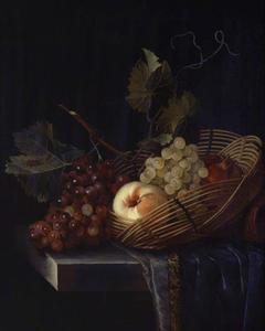 Stilleven met een perzik en druiven