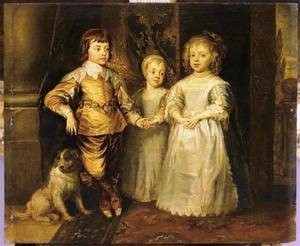 De drie oudste kinderen van Karel I Stuart (1600-1649) en Henriëtta Maria de Bourbon (1609-1669): Charles (1630-1685), Mary (1631-1666)  en James (1633-1685), met een spaniël