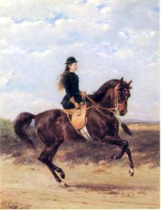 Portret van Wilhelmina van Oranje-Nassau (1880-1962) te paard