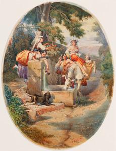 Jonge vrouwen verkleed als herderin en een jonge man bij een fontein