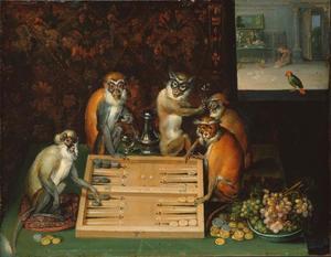 Triktrakspelende apen in een interieur