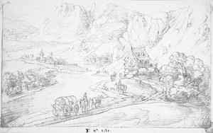 Rijnvallei met huifkar en ruiters